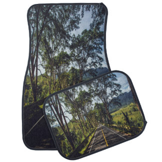 Tree Lined Street and Mountain Scene 4 Car Mats