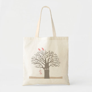 Tree Love Birds Love Initial Custom Tote Bag