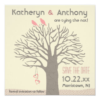 Tree Love Birds Save The Date Flat Card Square