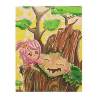 Tree man and a girl - Wood Wall Art Wood Print