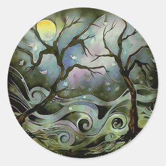 tree night scene full moon silk art painting classic round sticker
