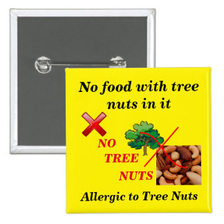 Tree Nut Allergy Button for food allergies