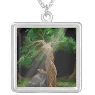 Tree Nymph Dancing Silver Plated Necklace