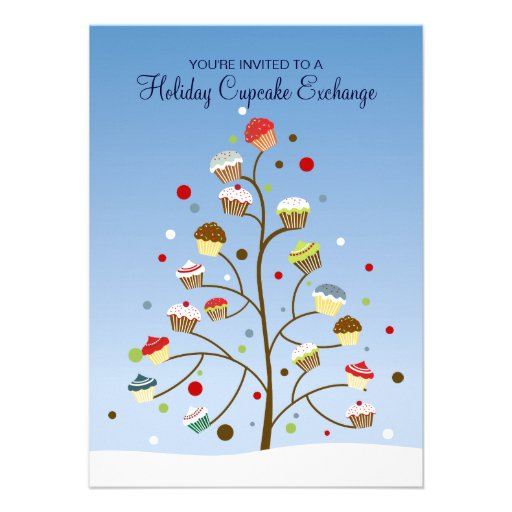 Tree of Cupcakes Exchange Holiday Party Custom Announcements