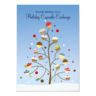 Tree of Cupcakes Exchange Holiday Party 11 Cm X 16 Cm Invitation Card