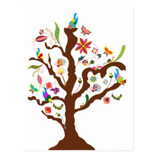 Tree of flowers and birds postcard