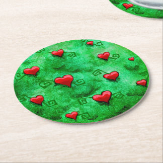 """Tree of Hearts"" Paper Coasters Round Paper Coaster"