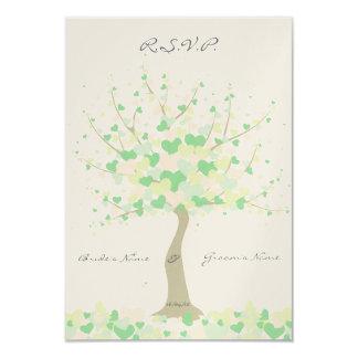 Tree Of Hearts - Spring/Summer Wedding - RSVP 9 Cm X 13 Cm Invitation Card