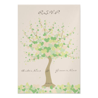 Tree Of Hearts - Spring/Summer Wedding - RSVP Announcement