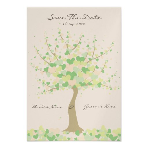 Tree Of Hearts Spring/Summer Wedding Save The Date Invitations