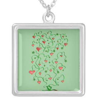 Tree Of Hearts With Leaves Necklace