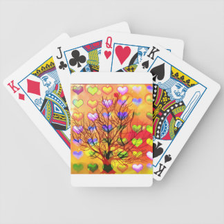 Tree of joy with multiple hearth bicycle playing cards