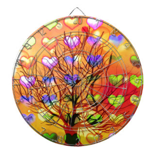 Tree of joy with multiple hearth dartboard with darts