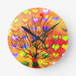 Tree of joy with multiple hearth round clock