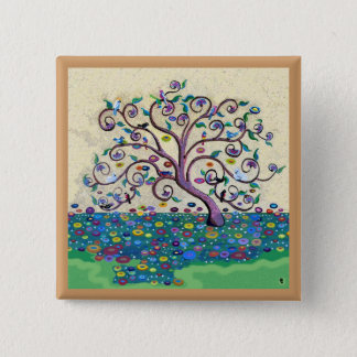 Tree of life 15 cm square badge