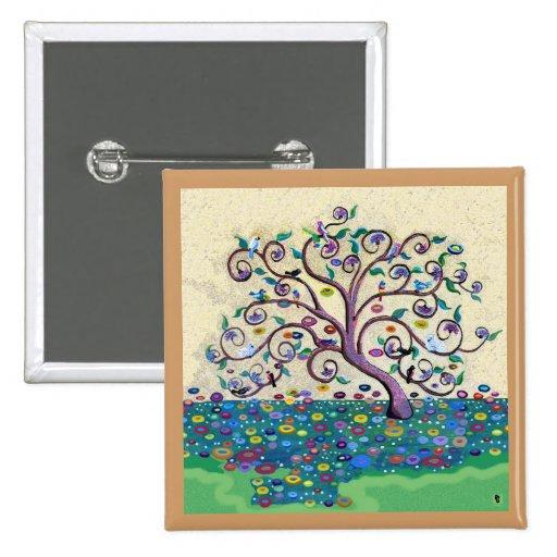 Tree of life 15 cm square badge