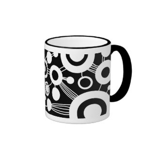 Tree of Life Abstract - Black & White Ringer Coffee Mug