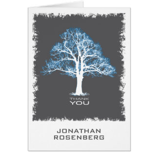 Tree of Life Bar Mitzvah Thank You Card, Blue Gray Card