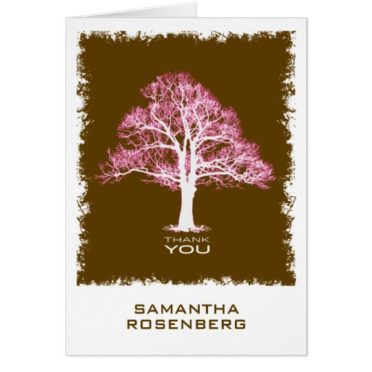 Tree of Life Bat Mitzvah Thank You Card, Chocolate Card