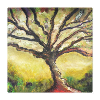 Tree of Life Bird Painting Unique Countryside Wrap Canvas Print