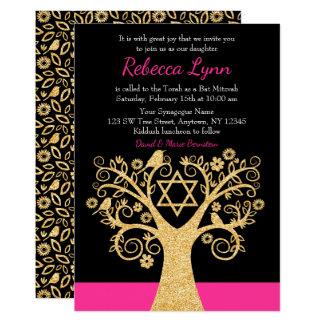 Tree of Life Birds Pink Gold Bat Mitzvah Card