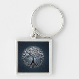 Tree of Life Blue Sky Peaceful Night Silver-Colored Square Key Ring
