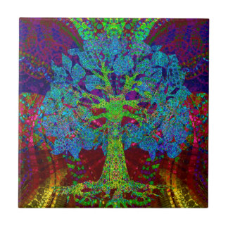 Tree of Life Boundless Enthusiam by Amelia Carrie Small Square Tile