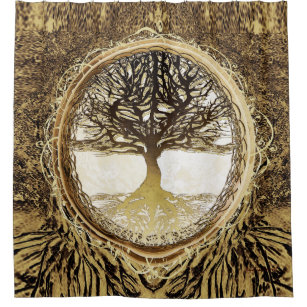 Tree Of Life Brown Shower Curtain