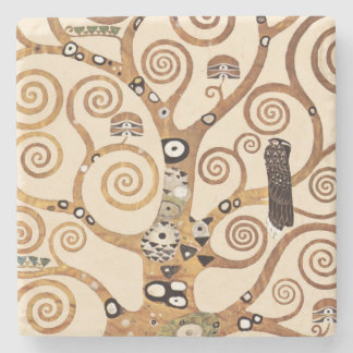 Tree of Life by Gustav Klimt Stone Coaster