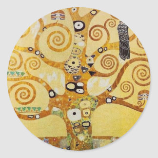 Tree of Life by Klimt Round Sticker
