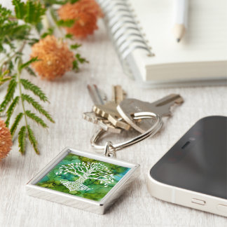 Tree of Life Celtic Symbol on Vibrant Background Key Ring