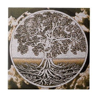 Tree of Life Circle of Life in Brown Small Square Tile