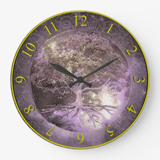 Tree of Life Clock Purple and Gold