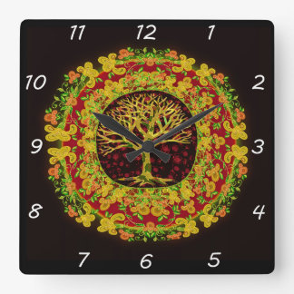 Tree of Life Constant Change Square Wall Clock