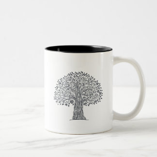 Tree Of Life Doodle Two-Tone Coffee Mug