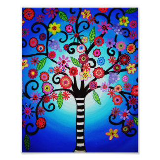 Tree of Life Flowers Painting Photo Print