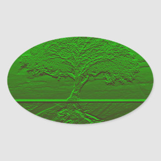 Tree of Life Green Energy Oval Sticker