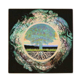Tree of Life Happiness Wood Coaster