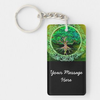 Tree of Life Health and Prosperity Double-Sided Rectangular Acrylic Key Ring