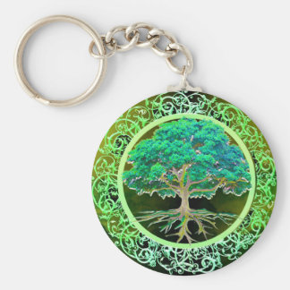 Tree of Life Health Basic Round Button Key Ring