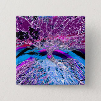 Tree of Life Hear in Purple and Blue w/ Rainbow 15 Cm Square Badge