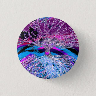 Tree of Life Hear in Purple and Blue w/ Rainbow 3 Cm Round Badge