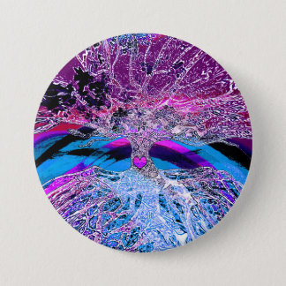 Tree of Life Hear in Purple and Blue w/ Rainbow 7.5 Cm Round Badge