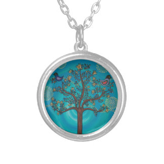 """""""Tree of Life in Blue""""  by CatherineHayesArt Silver Plated Necklace"""