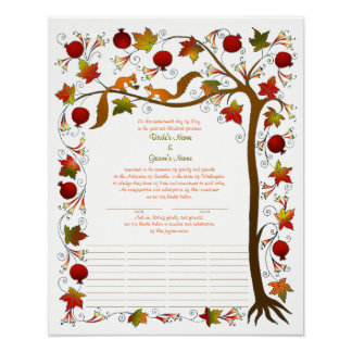 Tree of Life in Fall, Quaker Certificate 170926 Poster