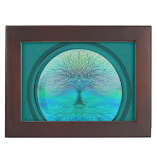 Tree of Life in Green Colors Keepsake Boxes