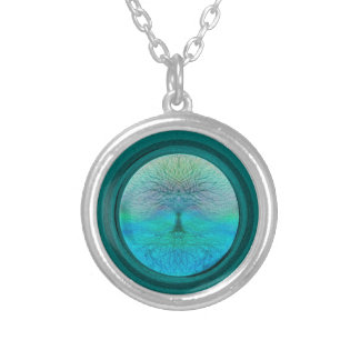 Tree of Life in Green Colors Round Pendant Necklace