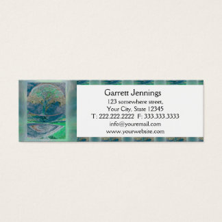 Tree of Life in Pale Green Colors Mini Business Card