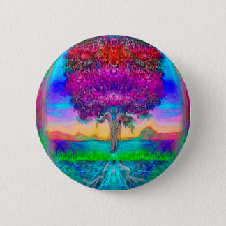 Tree of Life in Rainbow Colors 6 Cm Round Badge