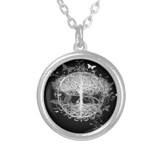 Tree of Life in White with Butterflies Silver Plated Necklace